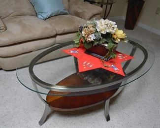 Metal and glass oval coffee and end tables
