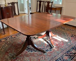 ANTIQUE DOUBLE PEDESTAL DINING TABLE | veneered top, ball and claw feet on casters, with extra leaves (not pictured); h. 29 x 61-1/2 x 46 in.