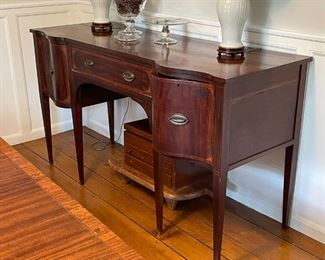 ANTIQUE REGENCY SIDEBOARD | flanked by serpentine-front drawers; h. 37 x 66 x 25 in.