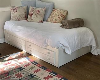 TWIN BED WITH DRAWERS | white painted bedframe with two drawers, approx. l. 82 x w. 44 in.