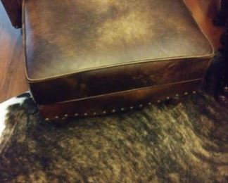 Hickory King Leather Ottoman