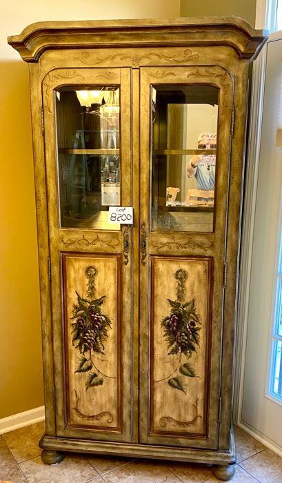 Lot 8200  $495.00 Seven Seas by Hooker, Wine Bar. 24 bottle holders, hanging glass rack, 1 drawer and 2 shelves.