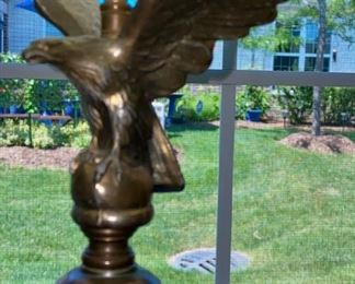 """Lot 8202. $125.00 Vintage Table Lamp w/cobalt glass and brass eagle on a marble base.  34.5"""" T  and base of 5""""square."""