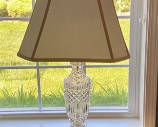 """Lot 8204.  $90.00 Beautiful Crystal table lamp with cream shade in great shape. 32"""" T"""