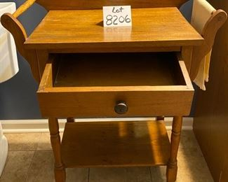 """Lot 8206. $195.00  Vintage Wash stand with 2 side towel racks and 1 drawer and open lower shelf. 27.5"""" W x 17""""L  x 34.5"""" T."""