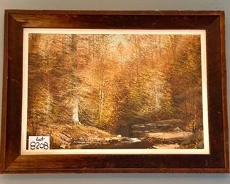"""Lot 8208. $295.00  Joe Shell, Brown County, Indiana Woodlands/Landscape Artist,   45"""" L x 36"""" W.  Fall Woodlands Scene.  Very intricate painting style with lots of texture.  This is 1 of 3 paintings we have for sale."""