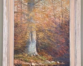 "Lot 8209. $195.00. Original Oil Painting by Joe Shell, Indiana Woodland Artist. 19"" W x 23"" T"