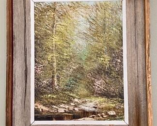 """Lot 8210. $195.00  Original Oil painting by Joe Shell in a cool barn wood frame. 19"""" W x 22"""" T"""