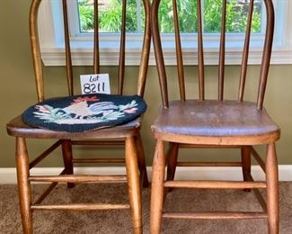 """Lot 8211. $60.00  Pair of Antique Wood kitchen table dining chairs, one has an antique chair pad with a rooster motif. 16"""" W  x 19.5"""" D x 34.5"""" T  These chairs are super cute for decorating, holding plants, throw a quilt on it and hundreds of other ideas to give your home some personality!"""