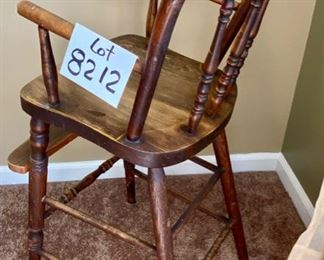 """Lot 8212. $60.00. Antique Childs High Chair with foot rest, so cute! 15.5"""" W x 18"""" D x 34.5"""" T, no tray-push up to the table."""