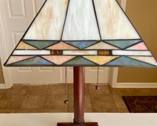 """Lot 8218. $38.00  Cute Double pull desk lamp acrylic stained glass look shade. Shade 11""""sq, 21""""t x 6""""sq base. Cream, gold, green colors."""
