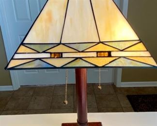 """Lot 8218. $38.00  Cute Double pull desk lamp acrylic stained glass look shade. Shade 11""""sq, 21""""t x 6""""sq base. Cream, gold, green colors"""