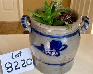 """Lot 8220  $50.00 Antique Blue Salt Glazed Handled Crock (8"""" W x 7.5"""" T) with a cute succulent Included."""