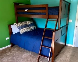 """Lot 8221 $400.00. Very Cool Peligro Walnut Stain Bunk Bed (Twin Over Full) with complte Bedding and Ladder... 80"""" L x 74"""" T. 60"""" W and 45"""" W."""