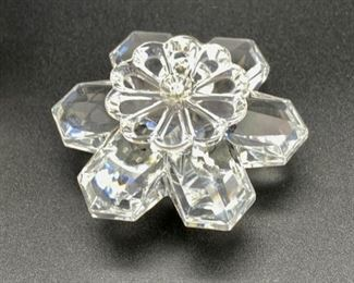 """Lot 8236. $75.00. 2 Swarovski Crystal Figurines, a 2"""" butterfly and a floral cake stand  (2 1/8"""" across)"""