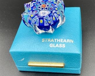 """Lot 8237.$35.00  Vintage Strathearn Millefiori cane glass paperweight, made in Scotland (2""""dia x 1 1/8""""tall), with presentation box.  Normal usage wear."""