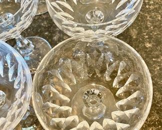 Lot 8223 & 8224. example of the glass shape in each lot.  $40.00 each lot of 6 glasses.   Six Schott Zwiesel Champagne  or Tall Sherbet Glasses.  Schott-Zwiesel crystal is sold at fine stores like Williams-Sonoma, Giftware Boutiques, Macy's, etc.