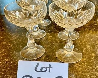 Lot 8223.  $40.00 each lot of 6 glasses.   Six Schott Zwiesel Champagne  or Tall Sherbet Glasses.  Schott-Zwiesel crystal is sold at fine stores like Williams-Sonoma, Giftware Boutiques, Macy's, etc.