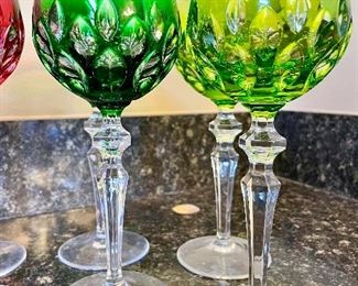 Lot 8234. $96.00. 12 Crystal stems in Cut-to-Clear, in Various Awesome Colors.   ( One cobalt stem has a chip on the base, negligible, but could be smoothed out.) These look terrific on display in a cabinet and feel great in your hand.