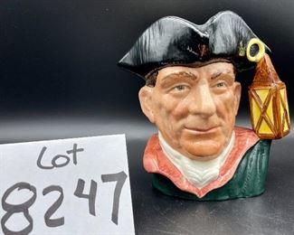 "Lot 8247.  $35.00. Royal Doulton Toby Mug, ""Night Watchman"" - D-6568 - copyright 1962.   7"" x 7"""