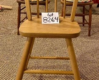 """Lot 8264.  $30.00. Vintage wooden Child or Junior chair in excellent condition. 19"""" W x 17"""" D x 33"""" T seat height is 20"""""""