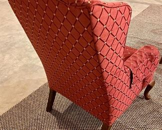 """Lot 8266.  $85.00. Vintage wingback chair in a reddish rust colored fabric with diamond pattern, queen anne legs.   Petite, perfect for a small room.27"""" W x 26"""" D x 41"""" T"""