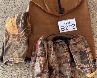 Lot 8272. $85.00. Vintage Ladies Bennington Golf Cart Bag,  Brown and tan colors with golfers on bag. Lone Palm golf towel and 4 camouflage head covers (The leather cover shown is not for this bag it belongs with Lot 8274).