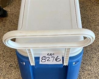 Lot 8276. $45.00.  2 pc. Lot. 1) Igloo Cooler on wheels, Wheelie cool 38 qt, 52 can capacity. and 2) Coleman Termo De 2 Gal, beverage cooler jug, both in mint condition.  Now get out and have a picnic!!