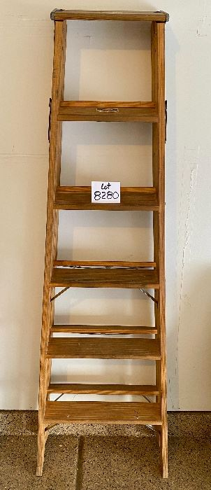 Lot 8280. $40.00. 6' wooden ladder, 300# max. Double Front Model 137006, Michigan Ladder Co, heavy duty, solid, and one of the nicest wood ladders we've seen (and we see a LOT of ladders!)