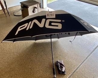 Lot 8281. $38.00. Ping Tour Golf Umbrella, Exc. Condition. Nice Cover for those wet golf outings.  If you are a Ping Fan like me, this is a must have.