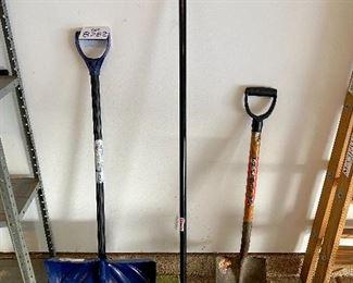 "Lot 8282.$24.00  Clean sweep lot!  Snow shovel, push broom 24"", power step shovel."