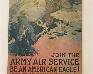 """Lot 8285.$50.00  """"Join the Army Air Service, Be an American Eagle!"""", Poster on masonite. 28.5"""" W x 37"""" T.  A bit faded but makes it look more like an origjnal."""