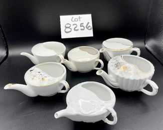 """ot 8256.  $50.00 Lot of 6 side-handled infant/hospital/invalid feeders primarily in white. 1) white & gold with a """"Z"""" mark, 2) Chantilly white pattern, 3) Ribbed gold,4) white with gold 'Empireware England"""", 5) white with gold trim """"MAW"""", 6) white body with gold trim that has rubbed away places."""