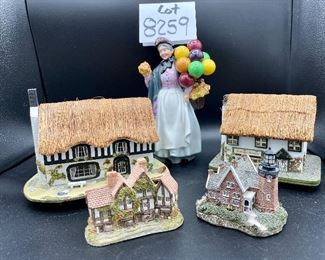 """Lot 8259. $60.00 5 pc lot of English Country decorative items: 1) Royal Doulton """"Biddy Pennyfarthing""""  balloon lady figurine; 2) Antique Shoppe Music box with thatched roof 6"""" x 4"""" and marked RF Tam 2813183; 3) Cottage with thatche roof music box, Made in England; 4) Apothecary's Shoppe  mini house by David Winter; 5) Lighthouse mini house."""