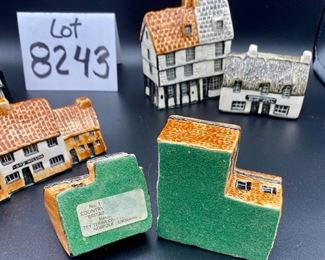 """Lot 8243. $48.00. Tey Pottery """"Britan in Miniature"""" Houses, lot of 6 houses. Includes: Lord Nelson, Post Office (with minor chip), Star Inn Alfriston, Sussex, Tey Pottery Studio, Blue Bell (Public House Countryside), Friars House Cambridge."""