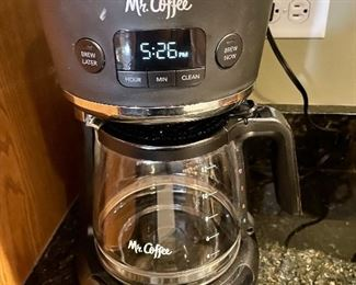 Lot 8287. $45.00 12-cup Mr. Coffee coffee brewer, super nice and clean,, Braun Coffee bean grinder, 2 Gibson Coffee Mugs, and coffee filters, incl. one gold filter.