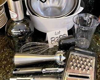 Lot 8288. $48.00. Large Lot Includes: Cuisinart Smart Electric Stick with 3 attachments: blender, whisk, chopper. 1 hand-held grater, 2 OXO peelers, 1 OXO rubber bottomed mixing bowl, set of 3 nesting metal mixing bowls. Perfect Rockin' housewarming gift!!