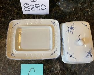 """Lot 8290C.  $112.00. Villeroy and Boch Vieux (Old) Luxembourg 5pc assortment of miscellaneous and serving pieces,  Includes  2 cheese & cracker trays (8.5"""" x 5.5""""), a square  butter dish with cover, pitcher 6.5"""" T, and a covered tureen (10.5"""" x7.5"""" x 4.5"""")."""