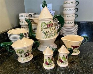 Lot 8292. $212.00.  Metlox Poppytrails Vernon California Provincial Pattern, 11 dinner plates, 8 desserts plates, 13 saucers, 12 cups, 5 fruit bowls (1 has a chip), 1 salt and pepper set, 1 serving platter, 1 serving bowl, a cream and sugar set, coffee pot, handled pourer. One of the cutest patterns Metlox has designed,  We love the Coffee Pot, Creamer and Sugar in the coordinating Homestead Provincial pattern!