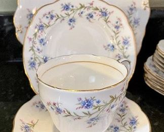 """Lot 8293. $65.00 Ducchess bone china """"Tranquility"""" Pattern, partial luncheon/tea set. 5 cups, 6 saucer, 6 square plates, 1 serving plate and a creamer. 19pc."""