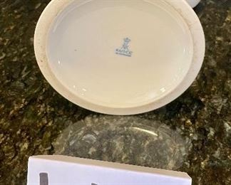 """Lot 8295. $75.00. 10 pc. of White Fruits de blanc dinnerware serving pieces, featuring fruit decor in relief on all pieces, includes: 14"""" oval platter, covered butter dish, creamer, sugar, salt and pepper, gravy/saucer, 2 dinner plates or cookie plates, and a white Kaiser tankard or pitcher 9.5"""" T."""
