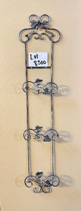 """Lot 8300. Pewter look 3 plate rack with grape designs.  36"""" L x 8"""" W."""
