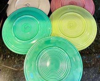 Lot 8301. $65.00. 13 Vintage Fiestaware Lunch Plates, old colors, (one plate is unmarked). 7 dessert plates (some faded, or well used), hard to find Old Colors.