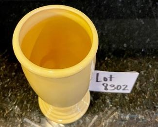 "Lot 8302.  $40.00 Fiesta Millenium II Vase 9.5"" tall, yellow. c. 1990-2000"