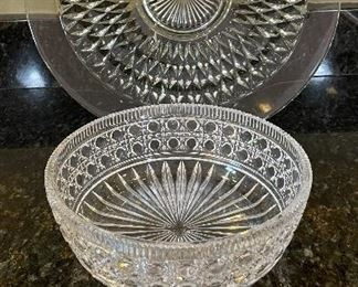 """Lot 8304. $26.00  Lot of vintage glass serving pieces: 3- 9"""" plates with a bubble look; 2 small pedestal bowls; a large serving bowl (8.5"""" x 3""""T);  and a large 15"""" glass platter."""