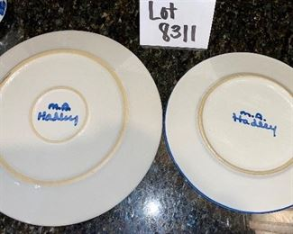 """Lot 8311.  $26.00. Group of 3 nice Hadley Pottery pieces.  11"""" Hadley Bunny plate, 9"""" Santa's cookie plate by Hadley and a Waechterseach Western Germany sauce pitcher."""