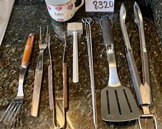 """Lot 8320.  $28.00  HAPPY FATHER'S DAY !!  Weber tongs and spatula; 5 kebob skewers; a small tenderizing mallet; Easy Grip tong/fork; a vintage Kane Kut meat fork; and a vintage """"Father"""" mug.  Just what. you need for an almost perfect gift."""
