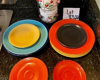 """Lot 8322.  $28.00  Cute, antique 7 pc spice rack - signed 'Japan' 9"""" x 5"""" W; Fiestaware-like dishware (7 dinner plates, assorted and 7 small plates, assorted) some may be unmarked Fiestaware.  Add on a small glass saucer."""