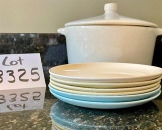 Lot 8325.  $20.00. Vintage speckled Monterey Pottery covered casserole (small hairling crack on lid) and 6 small specked plates in various colors.  Cute vintage!!!