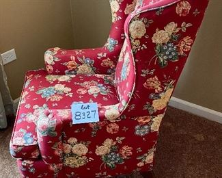 """Lot 8327. $95.00 Vintage wing back chair, lovely floral print red base 27"""" W  x 31"""" D  x 41"""" T"""
